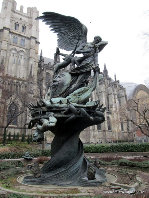 Peace Fountain-Cathedral St John the Divine-Decapitated Satan-Giraffes-DNA-NYC