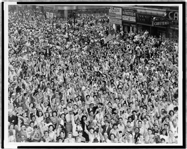 Crowd of People VJ Day-Times Square-NYC
